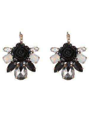 Enamel Faux Crystal Flower Earrings - Black