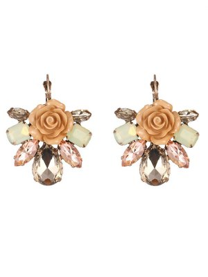 Enamel Faux Crystal Flower Earrings - Coffee