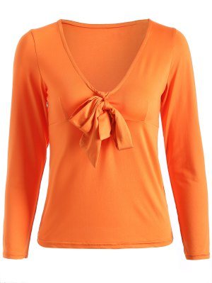 Long Sleeve Front Knot T-Shirt - Jacinth