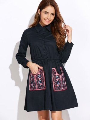 Long Sleeve Embroidered Shirt Dress Wit Pocket - Cadetblue