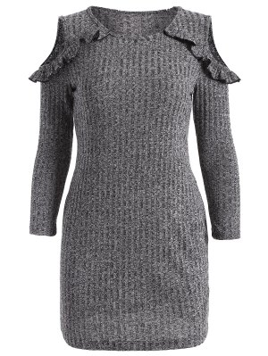 Cold Shoulder Bodycon Sweater Dress - Gray