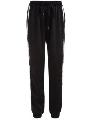 Pantalon De Sport Rayé Avec Cordonnet - Noir