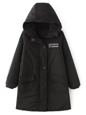 Padded Embroidered Parka Coat - Black
