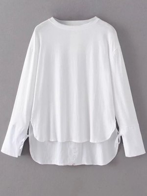 Tie Sleeve High Low Hem Tee - White