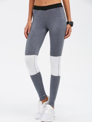 Leggings Yoga Bloque De Color Flacos - Gris