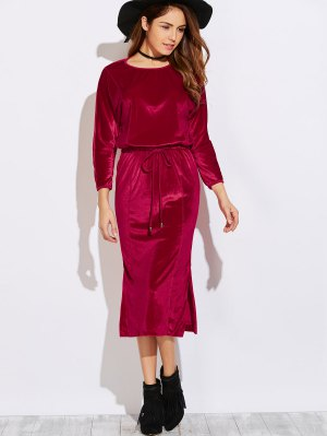 Side Slit Midi Velvet Blouson Dress - Burgundy