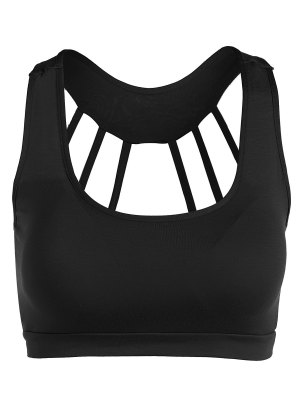 Padded Back Strappy Yoga Top - Black