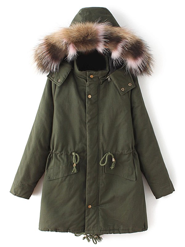 Faux Fur Collar Quilted Parka