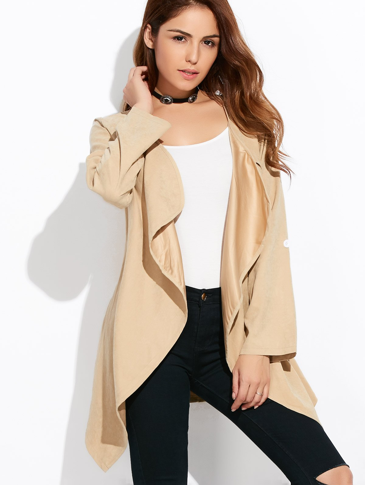 Drape Front Rolled Sleeve Plus Size Coat
