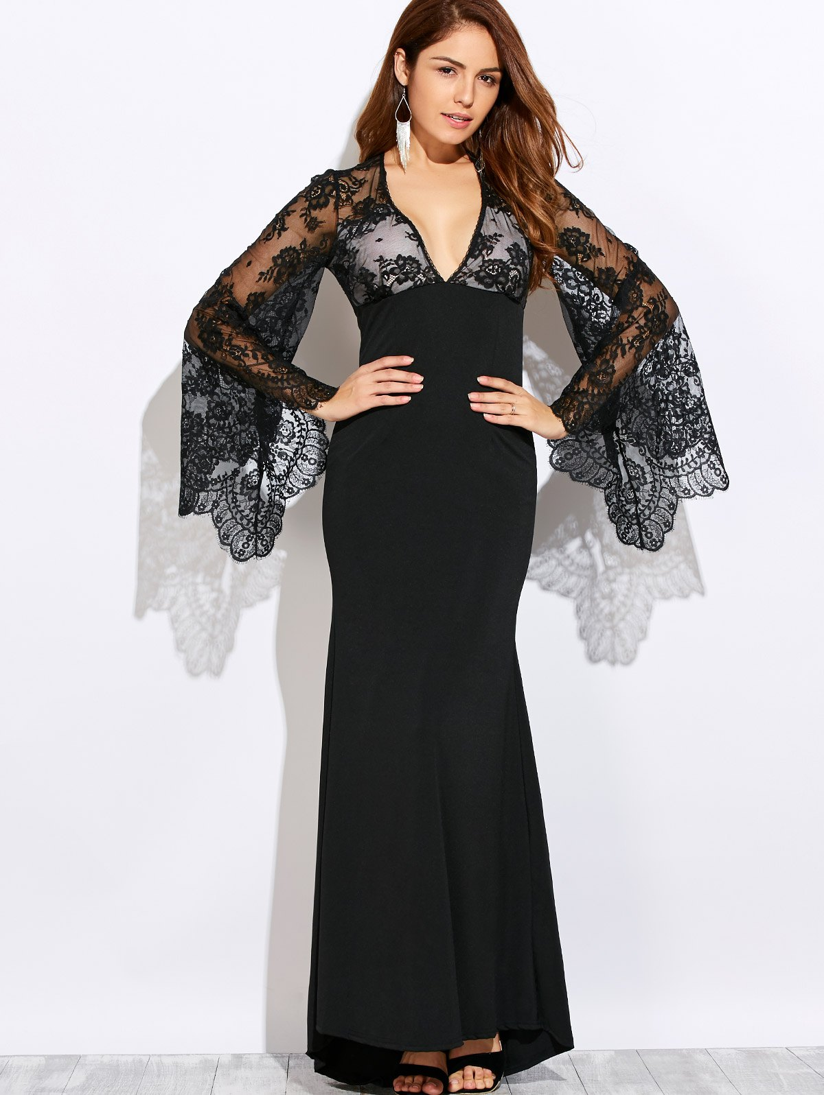 Plunging Neck Cutout Lace Spliced Maxi Prom Dress