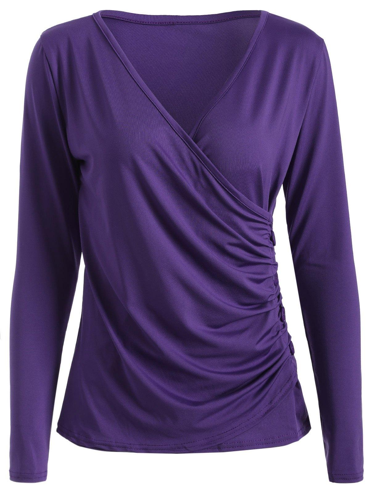 Buttons Runched Surplice T-ShirtClothes<br><br><br>Size: XL<br>Color: PURPLE