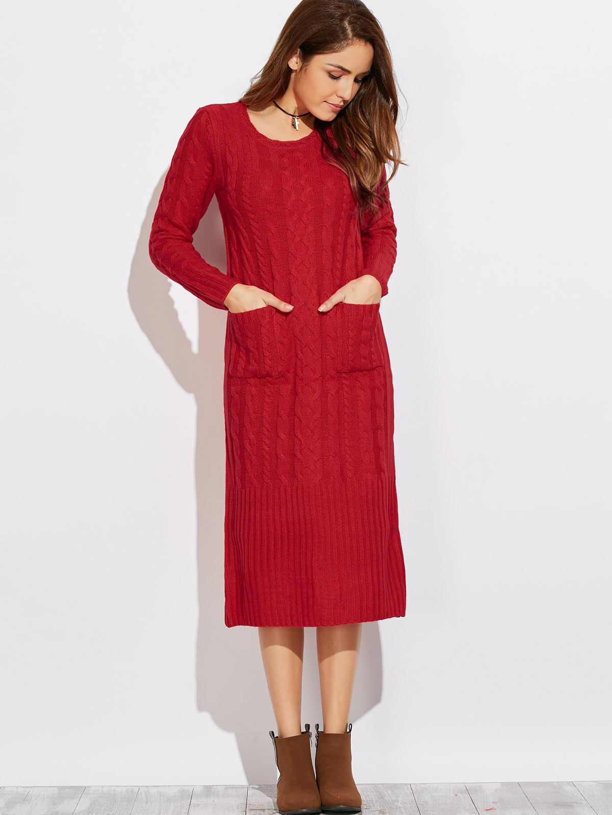 Cable Knit Back Slit Sweater Dress от Zaful.com INT