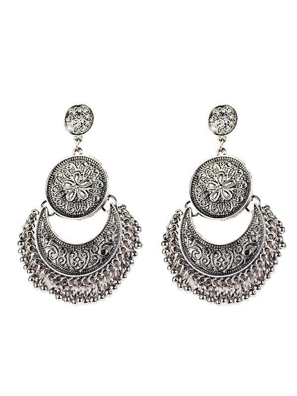 Vintage Engraved Flower Moon Beads Earrings