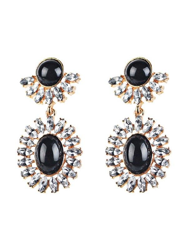 Rhinestoned Oval Drop Earrings