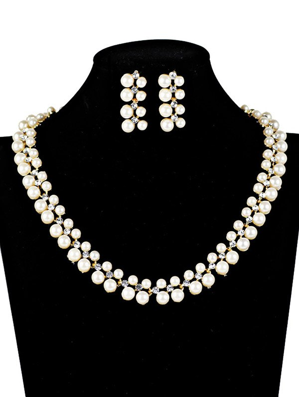 Rhinestoned Fake Pearl Wedding Jewelry Set