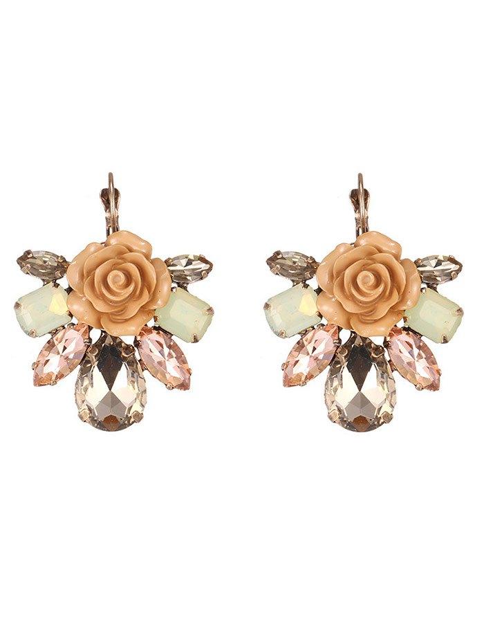 Faux Crystal Floral Earrings