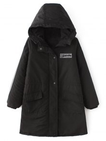 Padded Embroidered Parka Coat - Black M