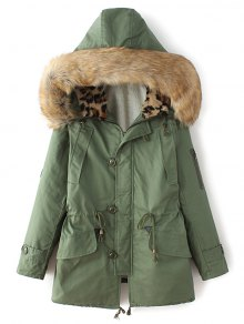 Buy Borg Lined Faux Fur Collar Parka - GREEN L