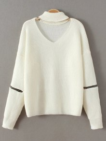 Zip Sleeve Choker Neck Sweater - White
