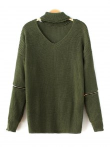 Zip Sleeve Choker Neck Sweater