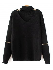 Zip Sleeve Choker Neck Sweater