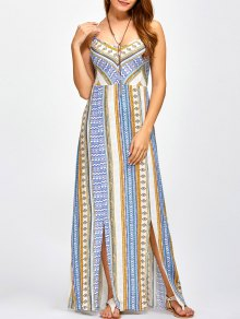 Sweetheart Cami Maxi Bohemian Dress - Blue