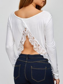 Lace Spliced Back Cutout T-Shirt - White L