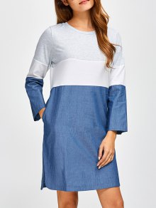 Color Block Denim Spliced Dress