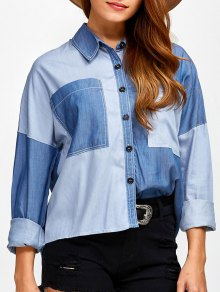 Pockets Patched Color Block Denim Shirt