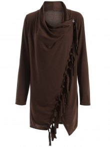 Tassels Side Button Cape - Coffee 3xl