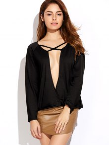 Plunging Neck Long Sleeve Crossover Top