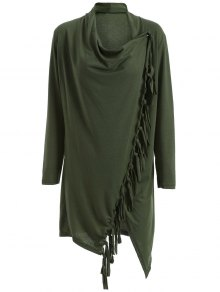 Tassels Side Button Cape - Army Green M