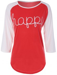 Color Block Heureux T-shirt - Rouge M