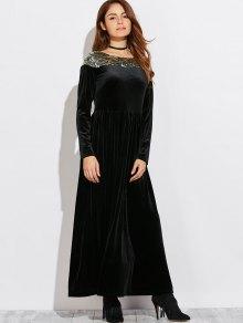 Sequined Velvet Long Swing Dress With Sleeves - Black
