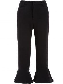 Ruffled Cuffs Pants - Black