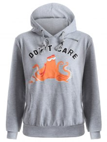 Front Pocket Drawstring Cartoon Hoodie