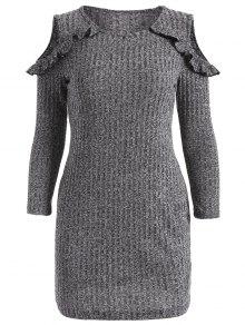 Cold Shoulder Vestido De Suéter Ajustado De - Gris