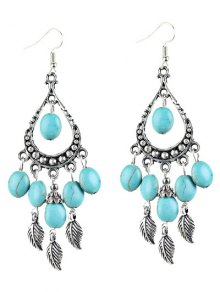 Bohemian Faux Turquoise Leaf Chandelier Earrings