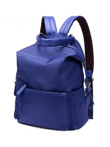 Double Buckle Splicing Zippers Backpack - Blue