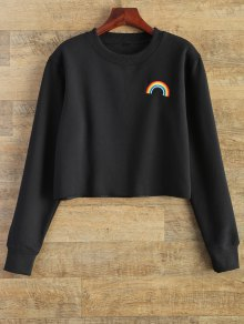 Rainbow Embroidered Cropped Sweatshirt - Black