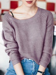 Boat Neck Loose Sweater - Purple