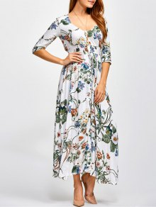 Printed Plunging Neck Shirred Maxi Dress - Floral