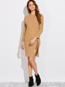 High Furcal Long Sleeve Dress - Khaki S