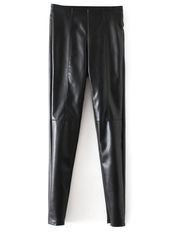latest Skinny PU Leather Narrow Feet Pants - BLACK M
