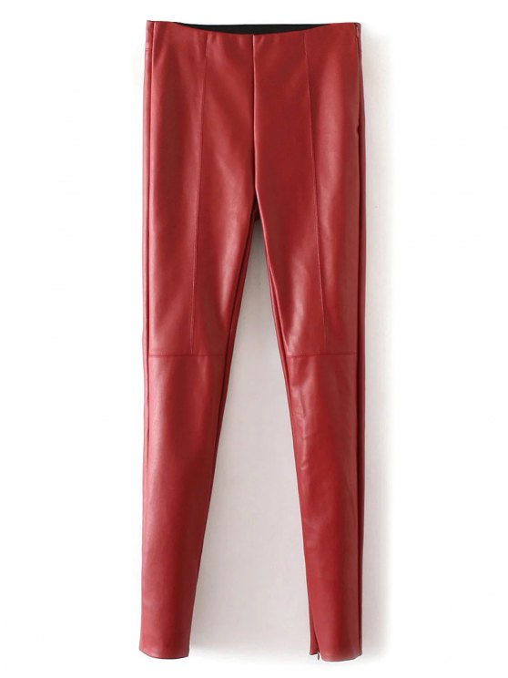 Skinny PU Leather Narrow Feet Pants - RED M Mobile