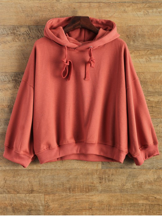 online Drop Shoulder Design Pullover Hoodie - RED ONE SIZE