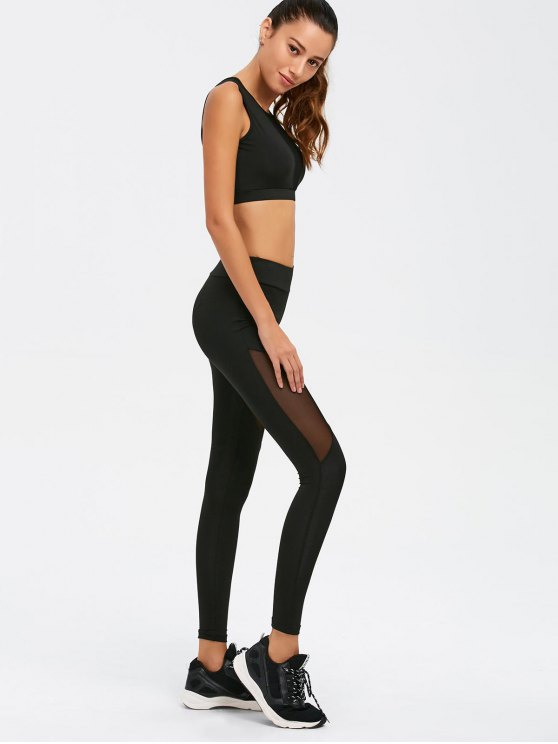 See-Through Mesh Spliced Skinny Sport Suit - BLACK S Mobile