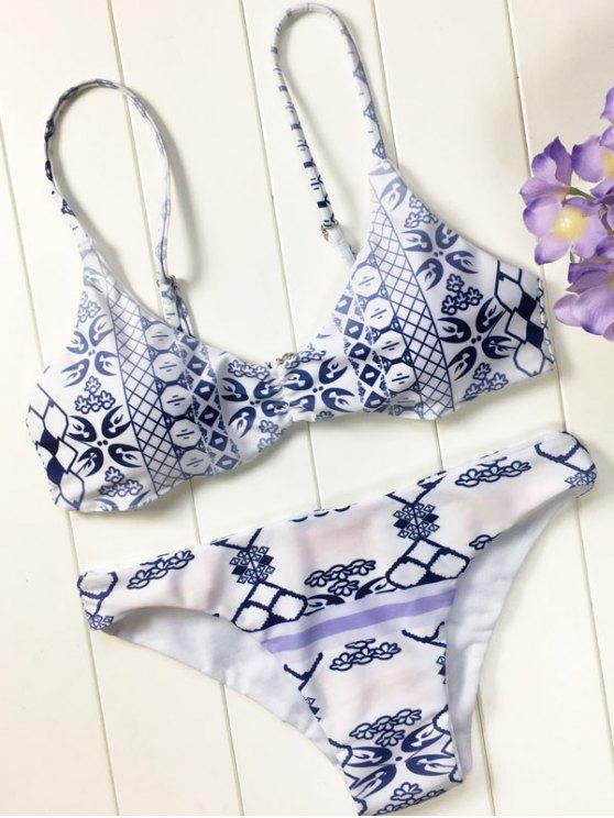 chic Blue and White Porcelain Cami Bikini - BLUE AND WHITE S