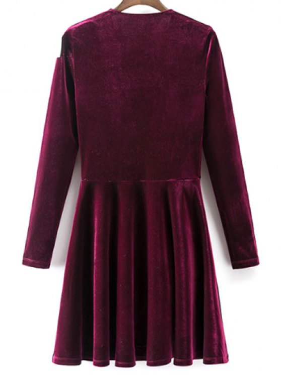 Velvet A-Line Dress - WINE RED M Mobile