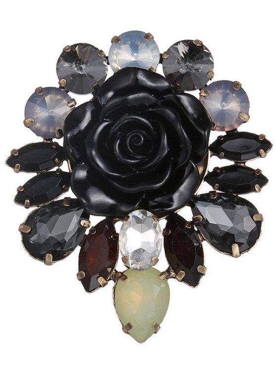 unique Enamel Faux Crystal Flower Brooch - BLACK